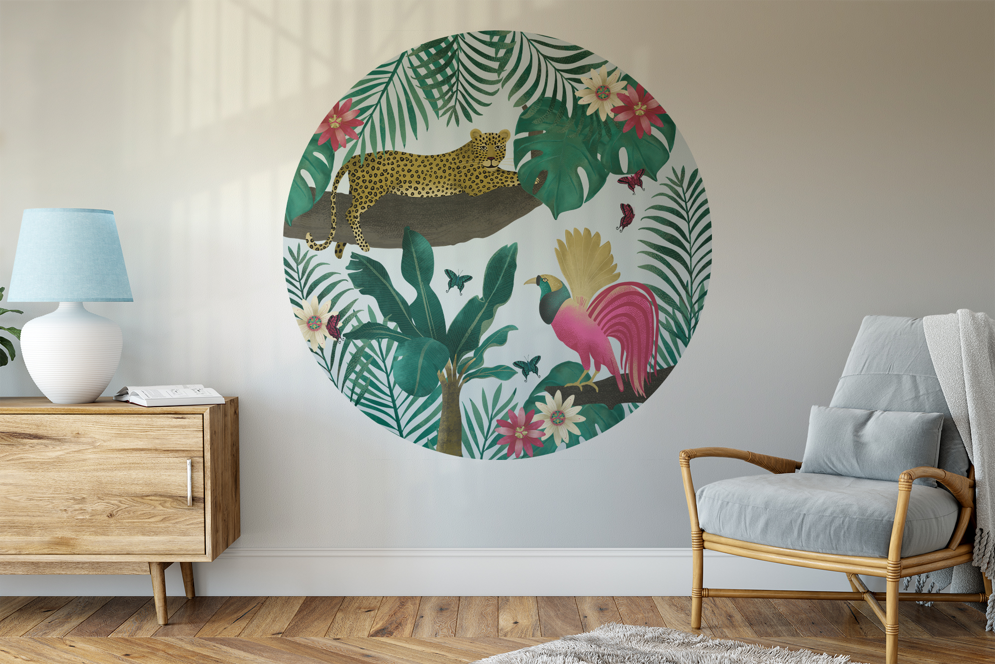 muursticker jungle luipaard in woonkamer Perron 11