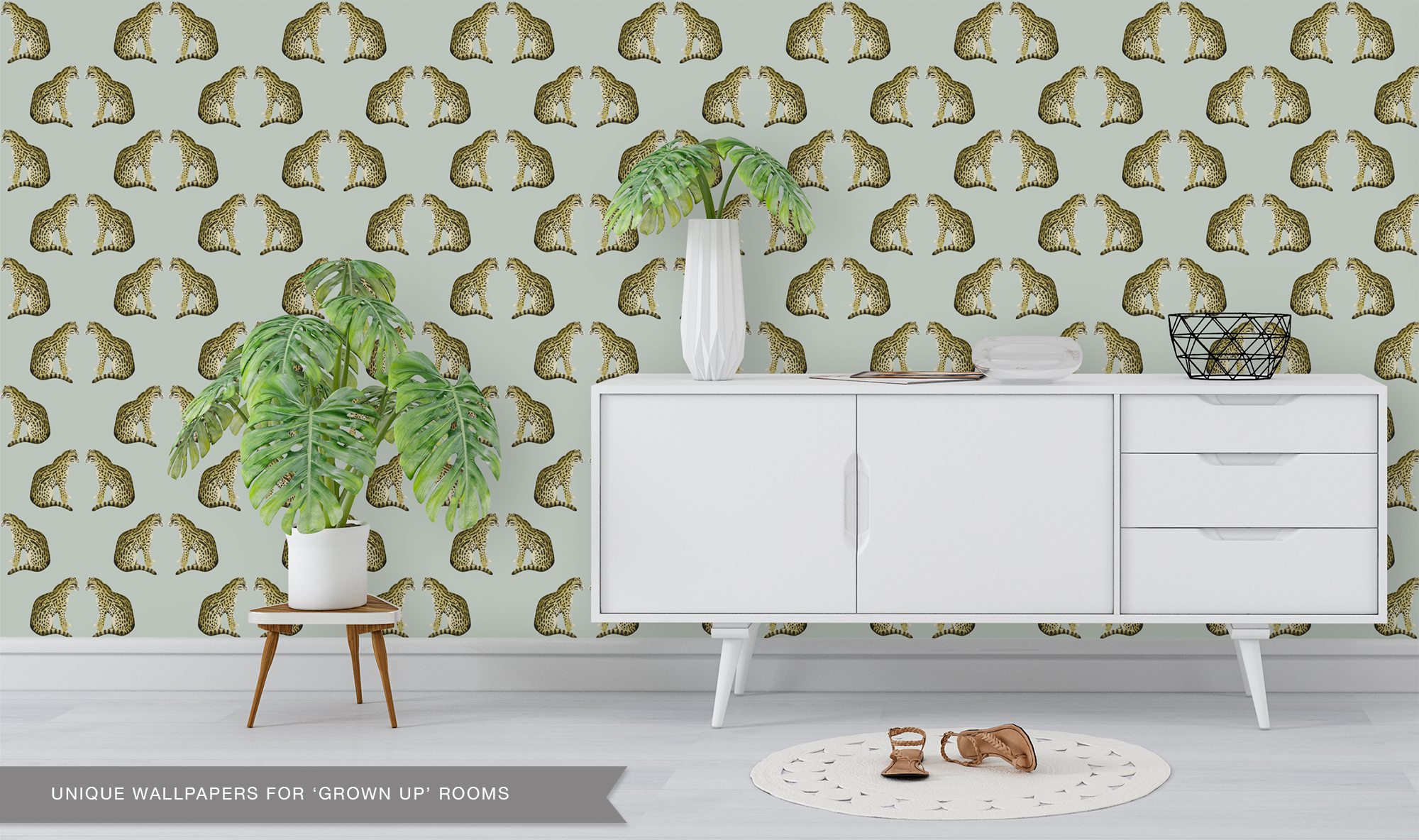 wallpaper leopard jungle in the living room Perron 11