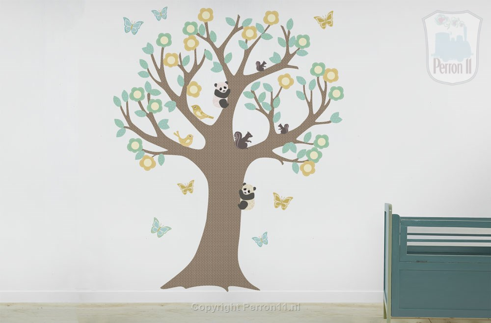 unisex baby room with sticker wall tree Perron11