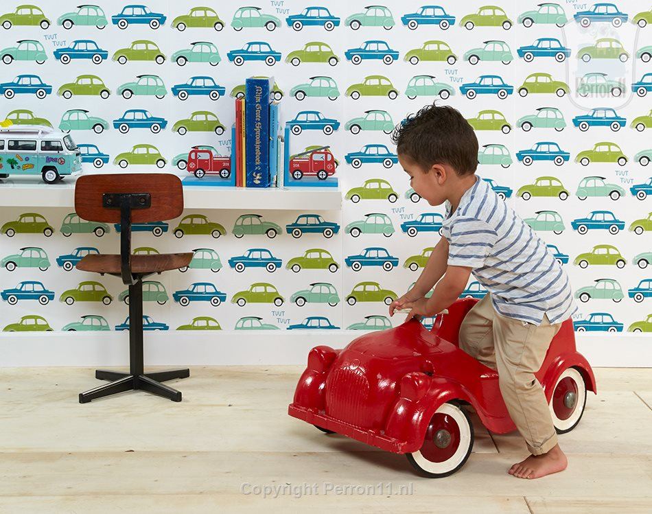 auto wallpaper teal in boys room with boy in car there