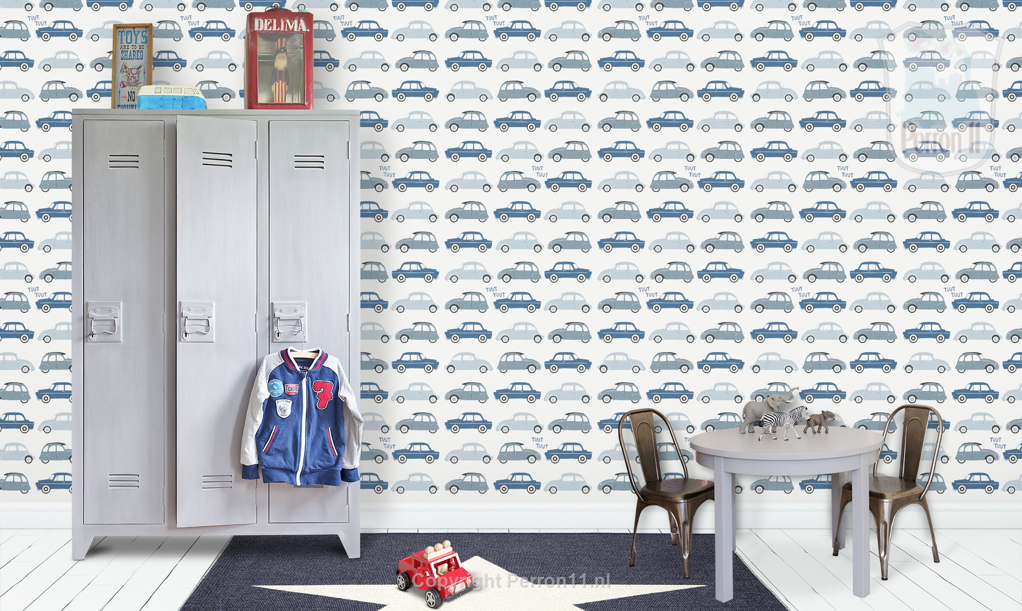 Tough boy's room with cars wallpaper in denim blue from Perron 11 on the wall