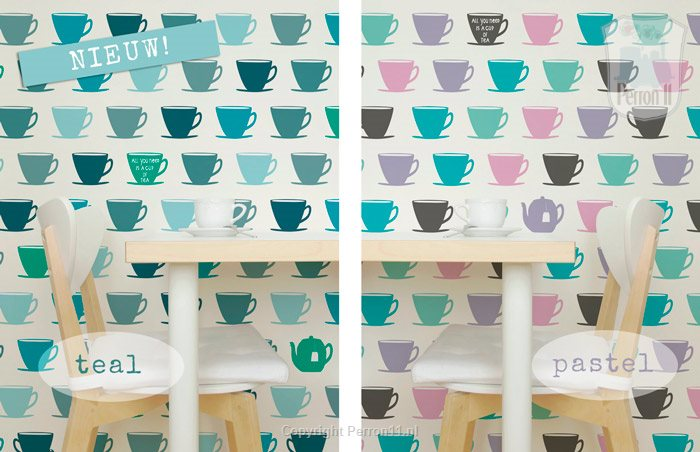 teacup teal wallpaper and pastel kitchen