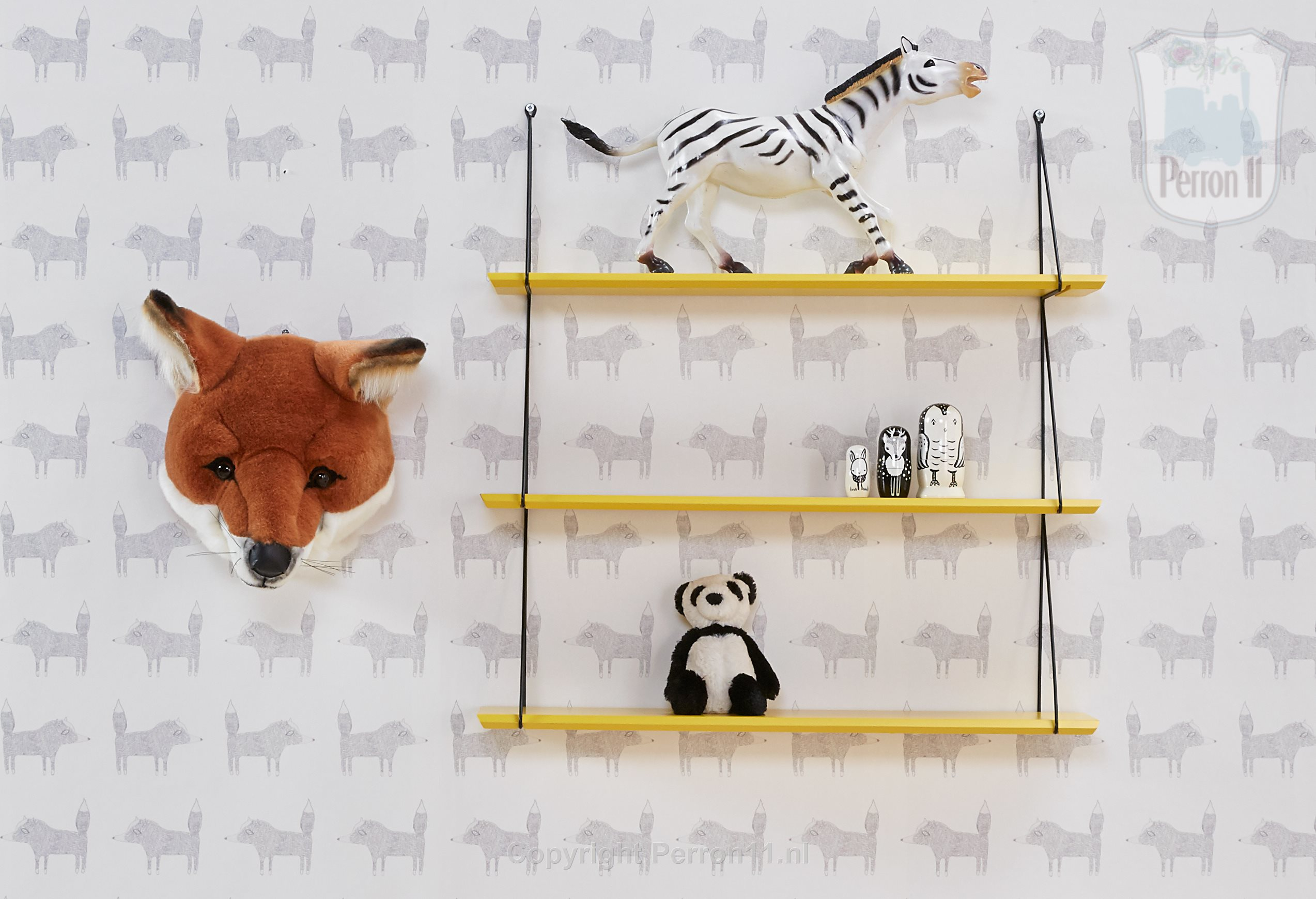 Fox Wallpaper with yellow rack and accessories