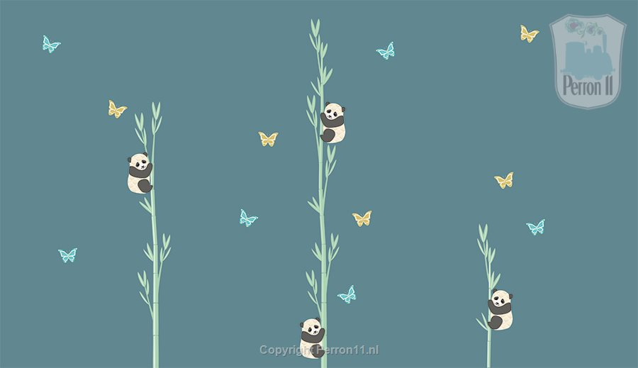 wall stickers with panda bamboo wall in dark denim drift
