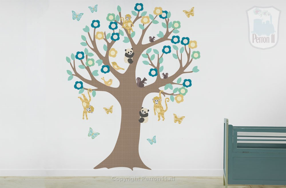 boys baby room with sticker wall tree of Perron 11