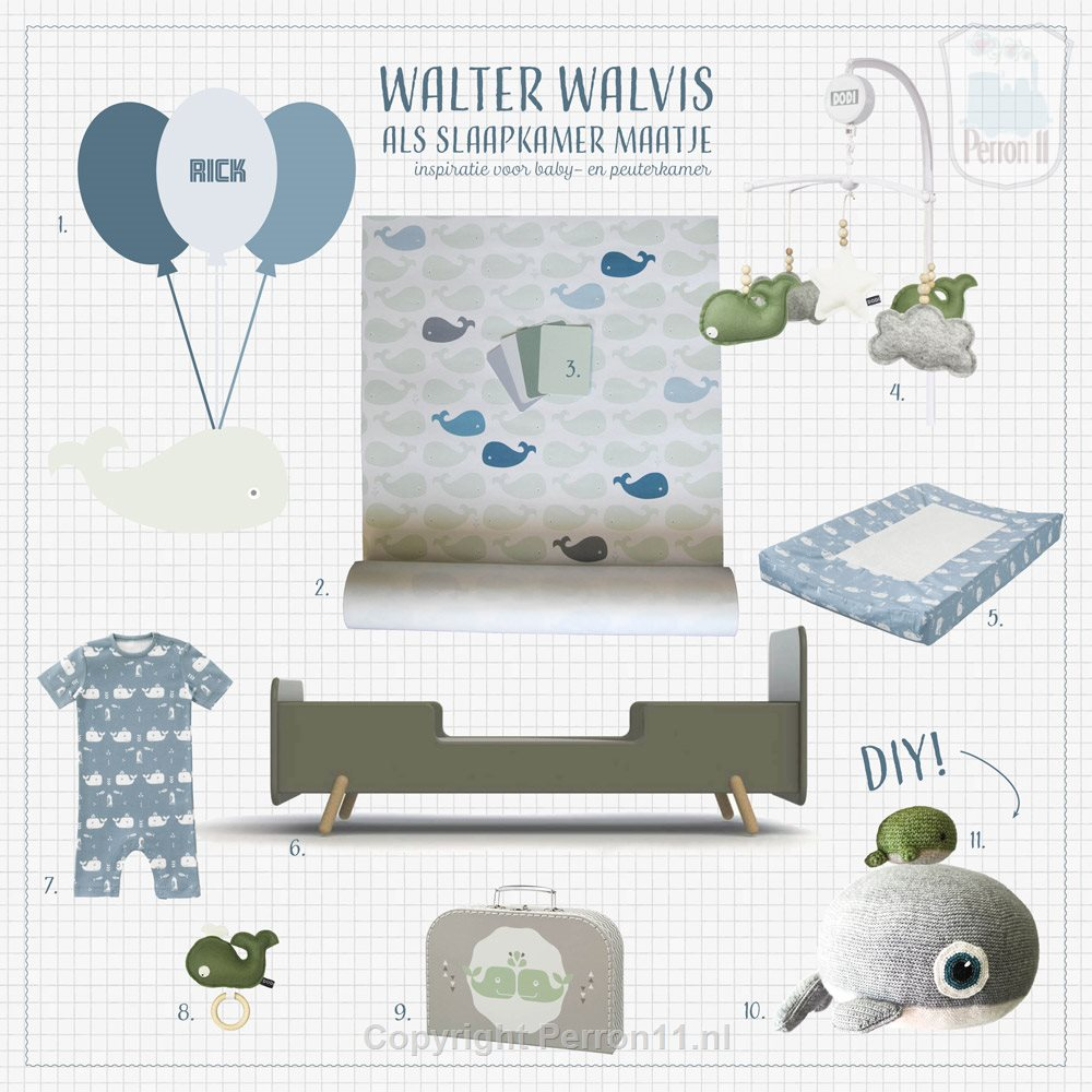 Moodboard whale nursery inspiration with wallpaper, wall stickers and accessories